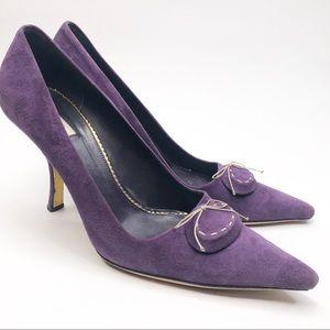 Prada Purple Medallion Suede Bow Pumps Heels